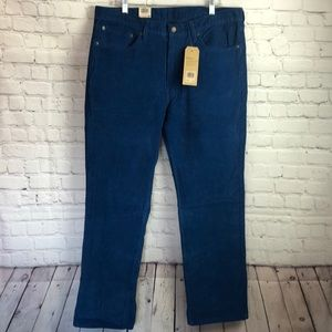 Levi's 514 straight leg corduroy teal blue pants